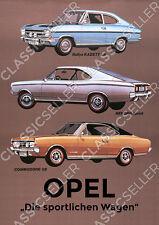 Opel Rallye Kadett LS Rekord Sprint Commodore GS Poster Plakat Bild Schild Deko