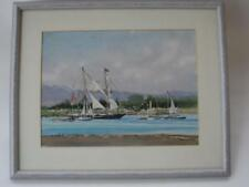 VINTAGE FRAMED JEAN HARRIS ART WATERCOLOUR PAINTING BOATS YACHTS TALL SHIP SEA