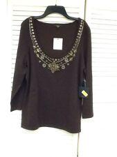 Reba, Autum Mist Cocoa 3/4 Sleeve Silk Blend Sweater w/Bling, Sz. L., NWT $88