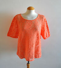 Ladies Papaya Orange Lace Short Sleeved Floral Blouse Top Summer Holiday 20 UK