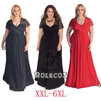 Women Oversized V Neck Short Lace Sleeve Evening Party Gowns Plus Size Dress