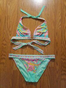 Victoria's Secret M/L Jeweled Bikini Two-Piece Mint Green Pink Halter Paisley