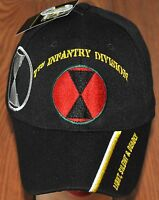 Black 7th Seventh Infantry Division Army Hat Ball Cap Light, Silent and Deadly
