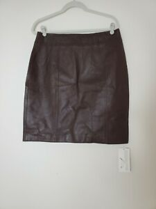 NEW Vintage Randolph Duke The Look Size 14 Brown Leather Pencil Skirt Classic