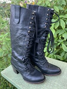 MINT $350 FREEBIRD BY STEVEN GRANNY BLACK COMBAT LACE UP BOOTS SIZE 8 ~SOLD OUT
