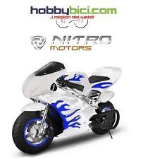 Minimoto PS FIAMME CORSA BLU doppio scarico spegnimento sicurezza NITRO MOTORS