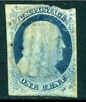 USA 1852 Franklin 1¢ Blue Scott # 9 Type 4  VFU B695 ⭐⭐⭐⭐⭐⭐