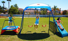 IronKids 2 Swing Set with Trampoline and Slide Metal Outdoor Playground for Kids