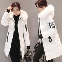 Women's Fur Collar Thicken Hooded Down Cotton Jacket Slim Long Warm Coat Winter