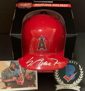 Jo Adell Angels Auto Signed Mini Helmet Beckett Witness Hologram .