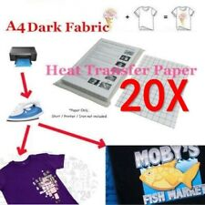 20Pcs A4 Heat Transfer T-Shirt Laser/Inkjet Iron-On Paper For Dark/Light Fabric