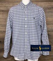Ralph Lauren Men's Blue Gingham Cotton Long Sleeve Button Down Shirt EUC Medium