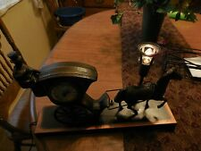 Vintage  UNITED Man on Horse and Buggy Night Light Motion Clock Model 701
