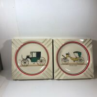 Pair of HYALYN Ceramic Antique Carriage Ashtrays Executive