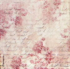 Rice paper Decoupage Scrapbooking Sheet Pink Buttercups and Writing
