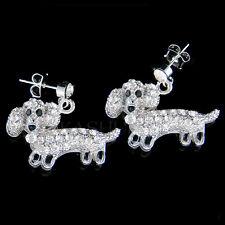w Swarovski Crystal ~Mini Dachshund~ Puppy Doxie Hot Dog Drop Earrings Jewelry