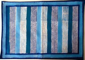 Bold Aqua and Navy Blue Stripes Table Place Mat with Border