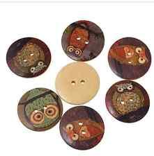 5 Bottoni in Legno Flatback GUFI 2 FORI 30mm Cucito Craft UK venditore Misto Designs