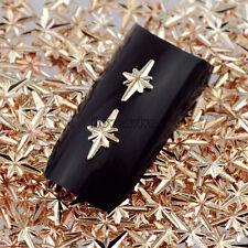 500PCS Champagne Gold Stars Light Metal Nail Art Studs Gems Decorations Tips