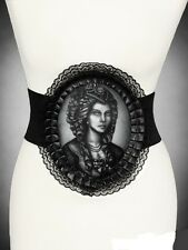 Victorian lady skull holographic Lace Frame Corset Belt Goth Steampunk NWT