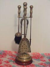 Vintage Brass Enamel Fireside Companion Set Fire Tools Ornate Floral Design