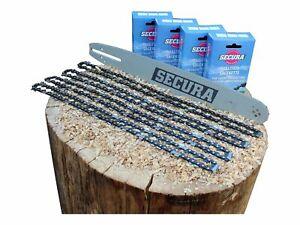 "Schwert + 4x Sägekette | passend Stihl Kettensäge | Secura 3/8"" 1,3mm 50TG 35cm"