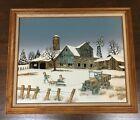 H Hargrove Winter Barn Scene With 2 Children Going Sledding. Oil Certified