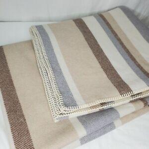 Pendleton Wool Blanket Stripes Gray Brown Tan Cream Modern Farmhouse Throw Cover