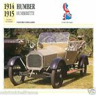 HUMBER HUMBERETTE 1914 1915 CAR VOITURE GREAT BRITAIN CARD FICHE