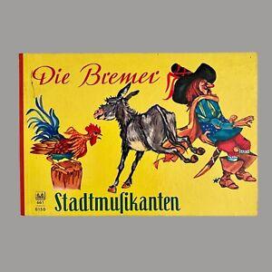1960er Kinderbuch: Bremer Stadtmusikanten 13x19cm Pappseiten Stoffrand Vintage