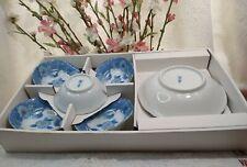 vintage ceramic Japan set plates blue floral design small side (4)&1 bowl plate.