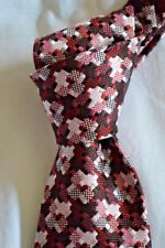 "$250 NWT TOM FORD Wine & Pink Houndstooth check 3.6"" men's woven Silk tie ITALY"