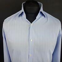 HUGO BOSS Mens Shirt 41 16 (LARGE) Long Sleeve Blue SLIM FIT No Pattern Cotton