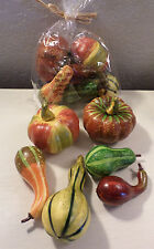 6 SMALL GOURDS & PUMPKINS HOME DECORATION FALL HALLOWEEN THANKSGIVING CRAFTS NEW