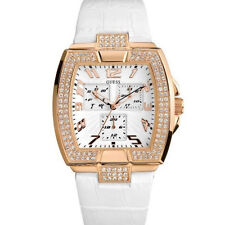 New Authentic GUESS White Strap Rose Gold-tone Women Watch U13520L1  /W16002L1