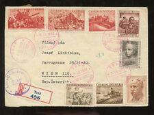 CZECHOSLOVAKIA 1952 REGISTERED CENSOR..8 STAMP FRANKING...TELC COLLEGE CENTENARY