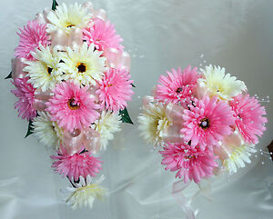 WEDDING BOUQUET SET, REAL TOUCH PINK AND IVORY GERBERAS