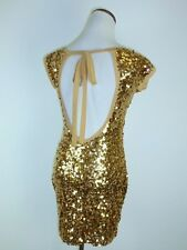 AKIRA CHICAGO BLACK LABEL GOLD SEQUIN SCOOP BACKLESS COCKTAIL DRESS TUNIC TOP S
