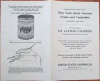 Canned Fruit & Vegetable NY State-October 1905 Catalog/Price List-US Canning Co.