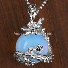 Pendant For Necklace Womens Jewelry Gift 1Pc Opal Opalite Round Ball Dragon Wrap