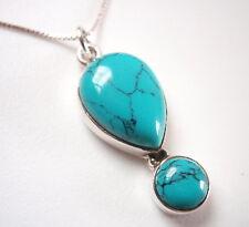 Blue Turquoise Teardrop 2-Gem 925 Sterling Silver Pendant Corona Sun Jewelry
