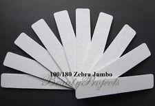 10pc Professional 100/180 Grit Zebra Jumbo Nail Files Square Shape 7x1 USA new