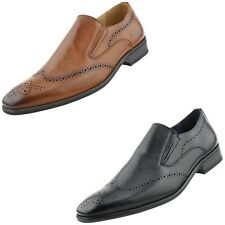 Mens Shoes, Dress Shoes for Men, Slip On Shoes for Men with Perforated Wingtip