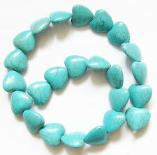 "Turquoise PUFF HEART 18mm Natural Gemstone Loose Beads 16"" Strand 24pcs"