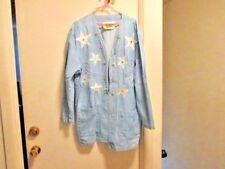 vintage woman's denim jacket silver appliqued stars silver beading