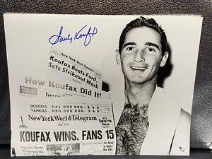 Sandy Koufax Signed Photo 11x14 - 15 Strike Outs! Brooklyn Dodgers W/ Coa