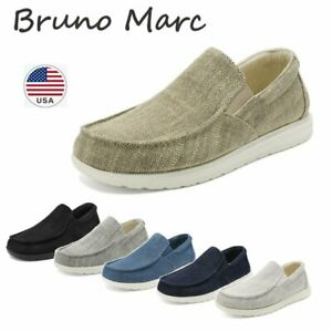 Bruno Marc Men's Lightweight Canvas Slip On Loafer Shoes Moccasins Walking Shoes