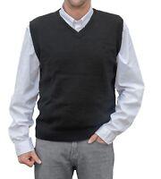 TINKUY PERU 100% Alpaca Wool Men´s Knit V-Neck Pullover Black Sweater Vest