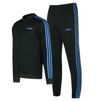 Men's Adidas Full Tracksuit 3 Stripe Jacket Top Bottoms Gym Football Green Blue