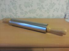 Stainless Steel Rolling Pin with Wooden Handles